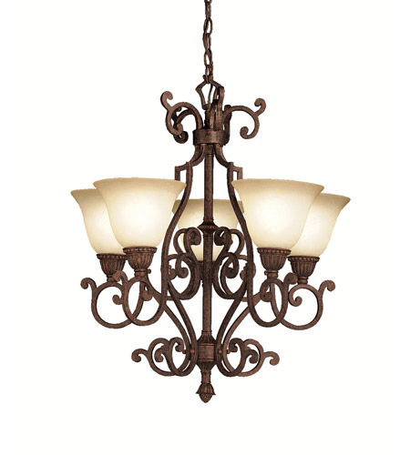 Kichler 2049TZG Larissa 5 Light 23 inch Tannery Bronze w/ Gold Accent Chandelier Ceiling Light photo