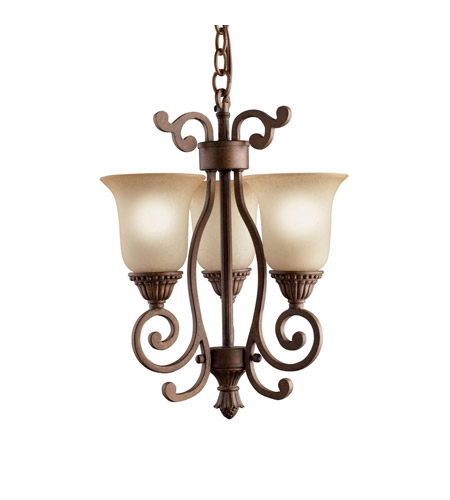 Kichler Lighting Larissa 3 Light Mini Chandelier in Tannery Bronze w/ Gold Accent 2215TZG photo