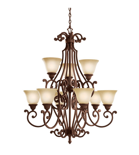 Kichler Lighting Larissa 9 Light Chandelier in Tannery Bronze w/ Gold Accent 2217TZG