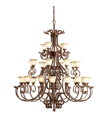 Kichler Lighting Larissa 28 Light Chandelier in Tannery Bronze w/ Gold Accent 2220TZG