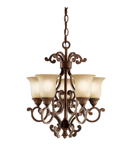 Kichler Lighting Larissa 5 Light Mini Chandelier in Tannery Bronze w/ Gold Accent 2303TZG