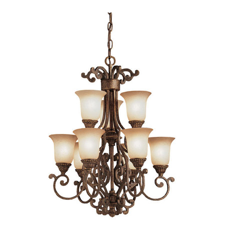 Kichler 2304TZG Larissa 9 Light 19 inch Tannery Bronze w/ Gold Accent Chandelier Ceiling Light photo