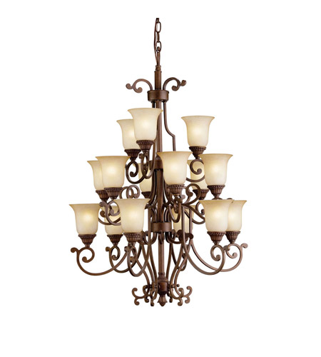 Kichler Lighting Larissa 15 Light Mini Chandelier in Tannery Bronze w/ Gold Accent 2307TZG