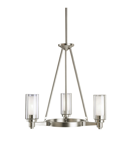 kichler 2343ni circolo 3 light 22 inch brushed nickel chandelier