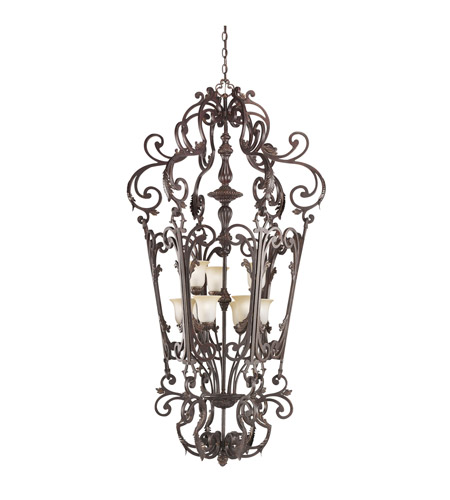 Kichler Lighting Wilton 9 Light Foyer Chain Hung in Carre Bronze 2472CZ