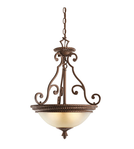 Kichler Lighting Larissa 3 Light Inverted Pendant in Tannery Bronze w/ Gold Accent 2606TZG