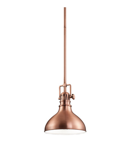 Kichler Hatteras Bay 1 Light Mini Pendant in Antique Copper 2664ACO