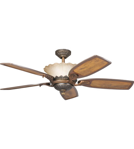 Kichler 300000OLZ Golden Iridescence Oiled Bronze with Distressed Oak Blades Fan photo