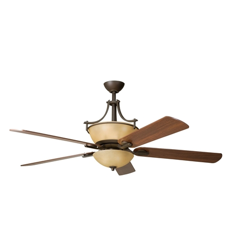 Kichler 300011OZ Olympia 60 inch Olde Bronze Fan in Sunset Marble Glass photo