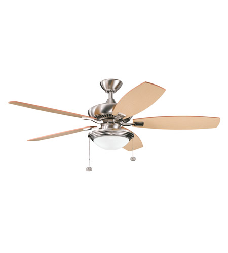 Kichler 300016BSS Canfield Select Brushed Stainless Steel with Light Oak Blades Fan photo