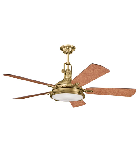 Kichler 300018BAB Hatteras Bay 56 inch Burnished Antique Brass with Poplar Burl Blades Fan photo