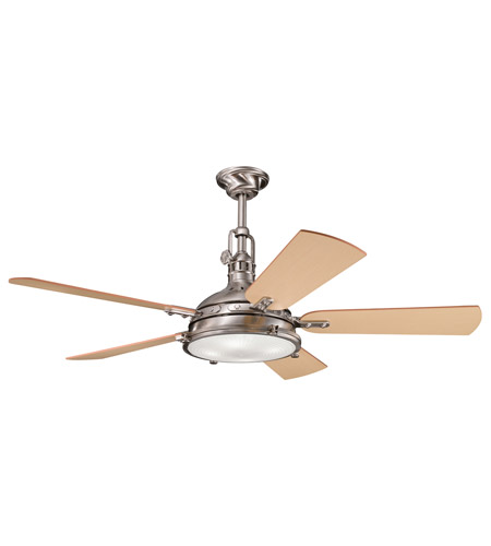 Kichler 300018BSS Hatteras Bay 56 inch Brushed Stainless Steel with Light Oak Blades Fan photo