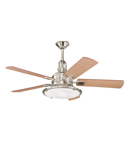 Kichler 300020PN Kittery Point Polished Nickel with Maple Blades Fan photo