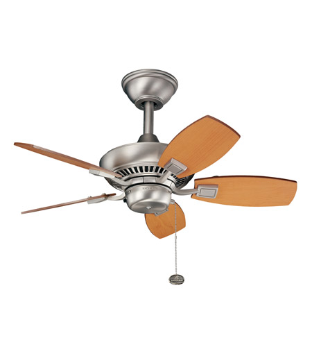Kichler 300103NI Canfield 30 inch Brushed Nickel with Maple Blades Outdoor Fan photo