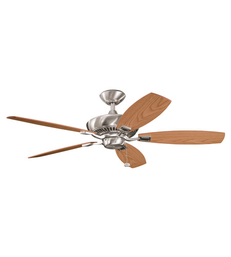 Kichler 300117BSS Canfield Brushed Stainless Steel with Light Oak Blades Fan in Medium Oak/Dark Oak photo