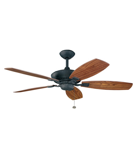 Kichler 300117DBK Canfield 52 inch Distressed Black with Walnut Blades Fan in Walnut/American Walnut photo