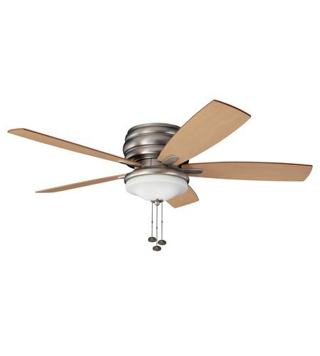 Kichler 300119NI Windham 52 inch Brushed Nickel with Maple Blades Outdoor Fan photo