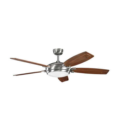 Kichler 300156BSS Trevor Brushed Stainless Steel with Walnut Stain Blades Fan photo