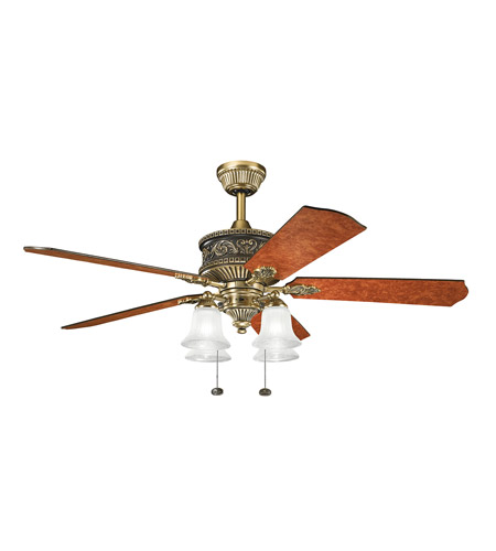 Kichler 300161BAB Corinth Burnished Antique Brass with Elm Burl Blades Fan photo