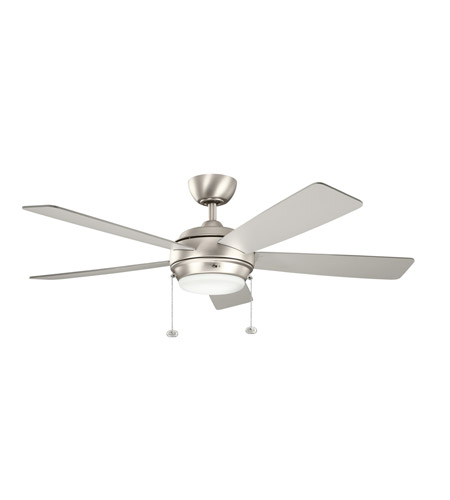 Kichler 300173NI Starkk 52 inch Brushed Nickel with Silver HT-567Snc Blades Fan in Silver/Walnut photo
