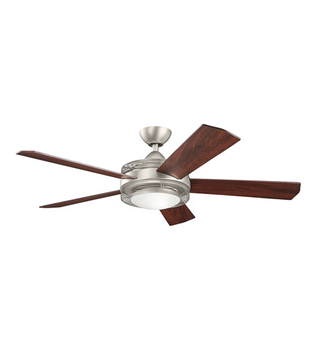 Kichler 300192ni enthrall 60 inch brushed nickel with walnut blades ceiling fan
