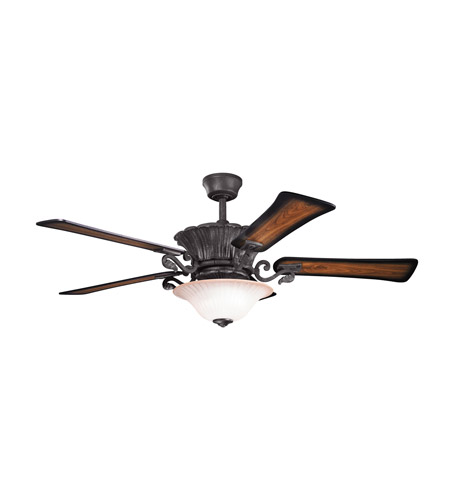 Kichler Rochelle 8 Light Fan in Distressed Black 300207DBK photo