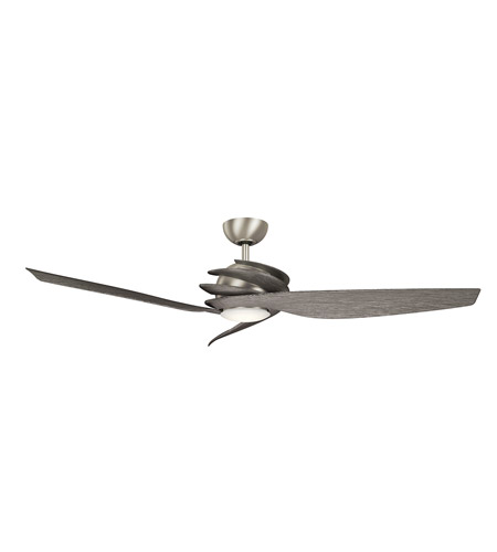 kichler 300700ni7 spyra 62 inch brushed nickel with driftwood blades ceiling fan - Kichler Fans