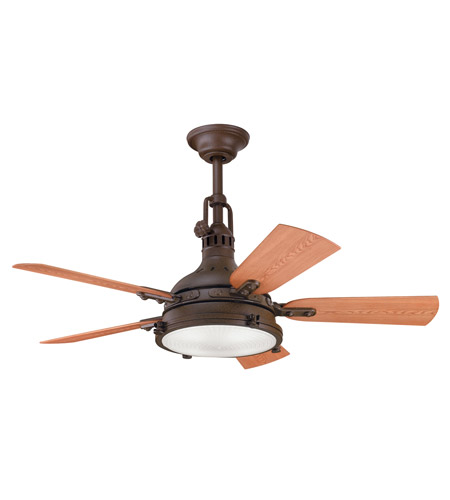 Kichler 310101TZP Hatteras Bay Patio Tannery Bronze Powder Coat with Walnut Blades Outdoor Fan photo