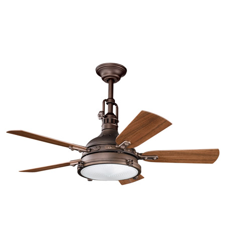 Kichler 310101WCP Hatteras Bay Patio Weathered Copper Powder Coat with Walnut Blades Outdoor Fan photo