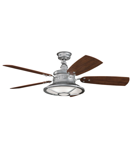 Kichler 310102GST Harbour Walk Patio Galvanized Steel with Walnut Blades Fan photo