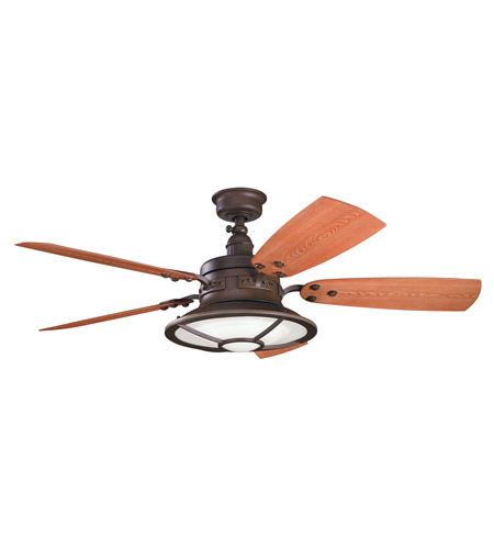 Kichler 310102TZP Harbour Walk Patio Tannery Bronze Powder Coat with Walnut Blades Outdoor Fan photo