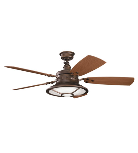 Kichler 310102WCP Harbour Walk Patio Weathered Copper Powder Coat Walnut Outdoor Fan photo