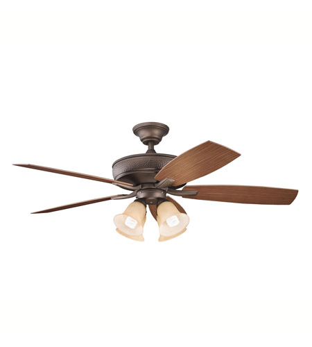 Kichler 310103WCP Monarch II Patio Weathered Copper Powder Coat with Walnut Ms-93801 Blades Outdoor Fan photo