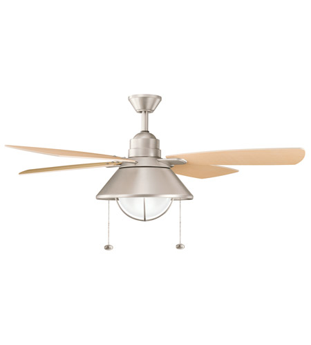 Kichler 310131NI Seaside Brushed Nickel with Walnut Blades Outdoor Fan photo
