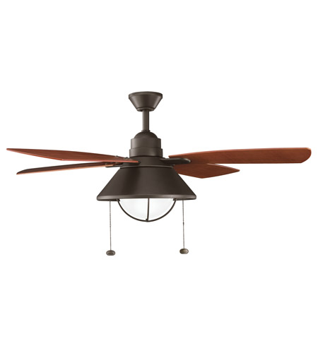 Kichler 310131OZ Seaside Olde Bronze with Walnut Blades Outdoor Fan photo