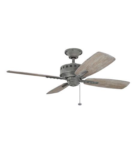 kichler 310135wzc eads 52 inch weathered zinc with weathered medium oak blades ceiling fan - Kichler Fans