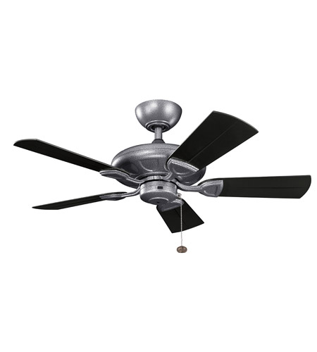 Kichler 310144WSP Kevlar 42 inch Weathered Steel Powder Coat with Satin Black Blades Ceiling Fan photo