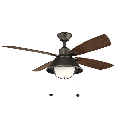 Kichler 310181OZ Seaside 52 inch Olde Bronze with Walnut Blades Ceiling Fan photo