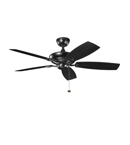 Kichler 310192SBK Canfield Satin Black with Sat Nat Black Blades Outdoor Fan photo