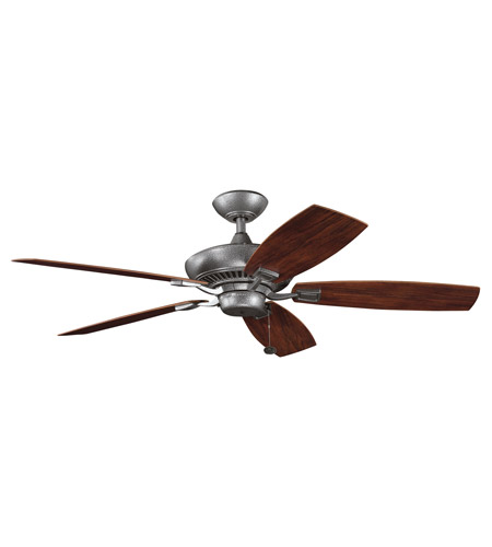 Kichler 310192WSP Canfield Patio Weathered Steel Powder Coat with Walnut Blades Outdoor Fan photo