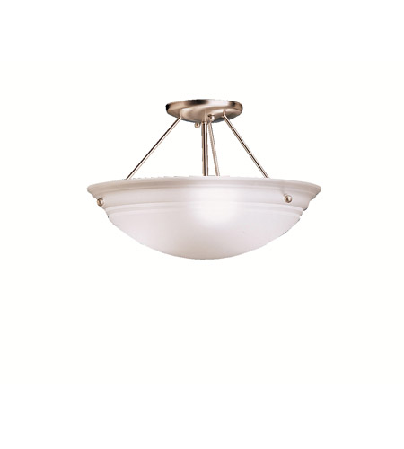 Kichler 3122NI Cove Molding Top Glass 3 Light 15 inch Brushed Nickel Semi-Flush Ceiling Light in Satin Etched Glass photo