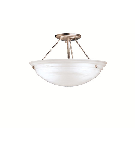 Kichler 3122NIA Cove Molding Top Glass 3 Light 15 inch Brushed Nickel Semi-Flush Ceiling Light in Alabaster Swirl photo