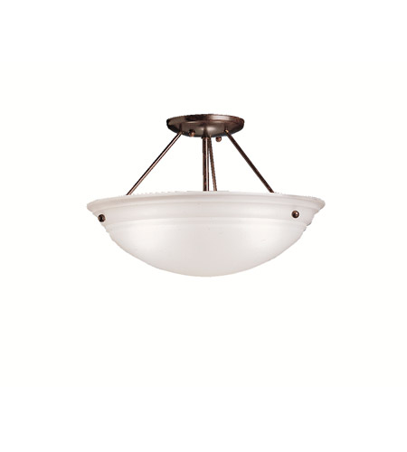 Kichler 3122TZ Cove Molding Top Glass 3 Light 15 inch Tannery Bronze Semi-Flush Ceiling Light in Satin Etched Glass photo