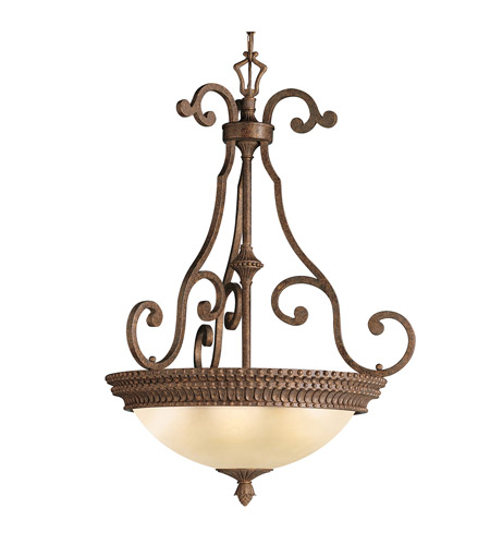 Kichler Lighting Larissa 3 Light Inverted Pendant in Tannery Bronze w/ Gold Accent 3217TZG
