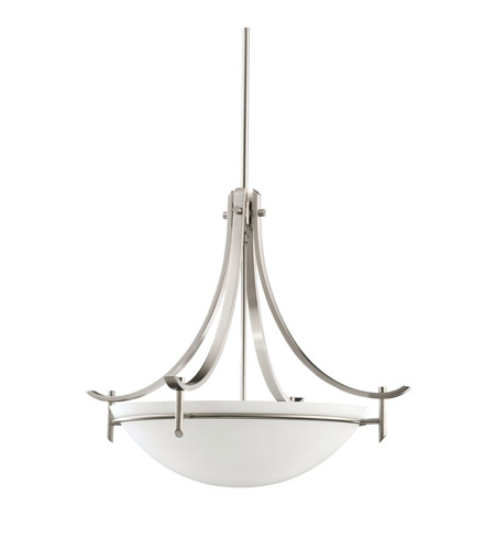 Kichler 3278AP Olympia 3 Light 24 inch Antique Pewter Inverted Pendant Ceiling Light in Satin Etched Glass, Standard  photo