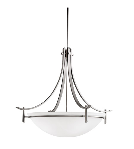 Kichler 3279AP Olympia 5 Light 36 inch Antique Pewter Inverted Pendant Ceiling Light in Satin Etched Glass photo