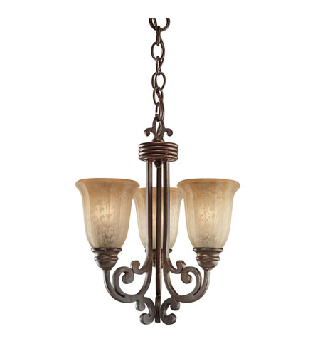 Kichler Lighting Wilton 3 Light Mini Chandelier in Carre Bronze 3289CZ photo