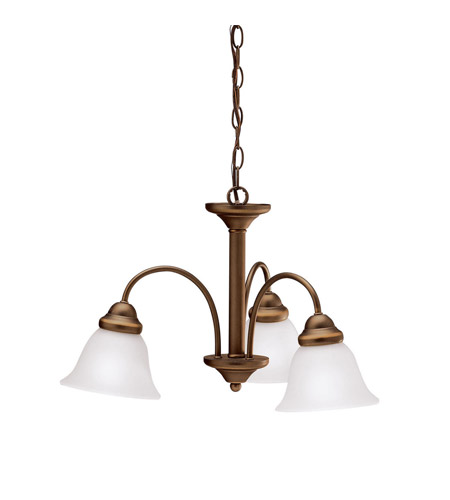 Kichler 3293OZ Wynberg 3 Light 22 inch Olde Bronze Chandelier Ceiling Light in Satin Etched Glass photo