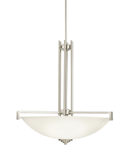Kichler 3299NI Eileen 4 Light 26 inch Brushed Nickel Inverted Pendant Ceiling Light in Standard, Satin Etched Cased Opal photo