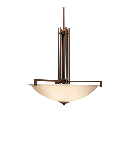 Kichler 3299OZ Eileen 4 Light 26 inch Olde Bronze Inverted Pendant Ceiling Light in Umber Etched Glass, Standard photo